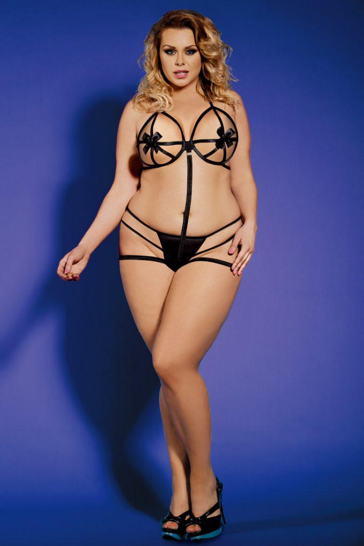 Plus Size Sexy Body XXL Teddy Schwarz