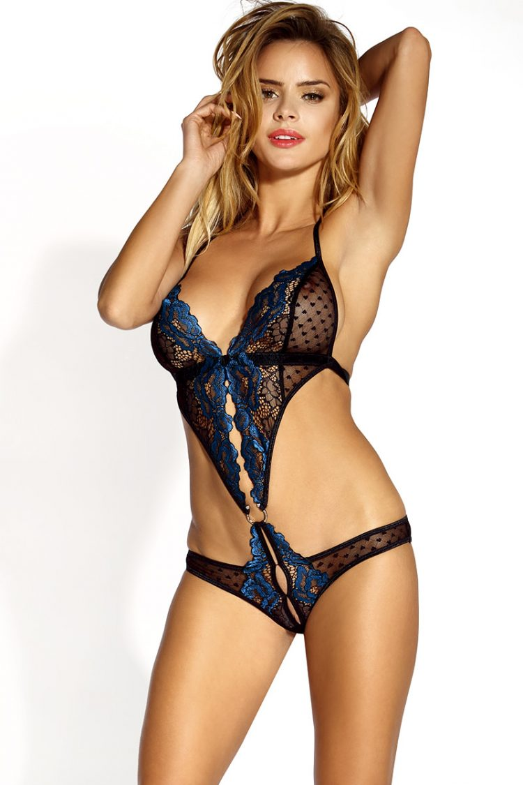 Sexy Teddy Black Blue with lace halterneck crotchless