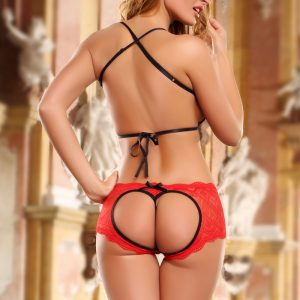 Erotic 2 Piece Black Red Open Booty Lace Set Lingerie
