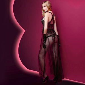 Erotisches Kleid 3 Teilig lang Tüll mit String