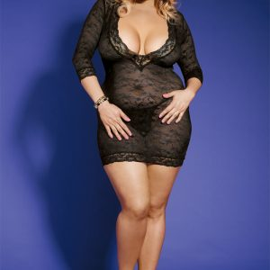 Plus Size Sexy 2 Piece floral lace dress with deep cleavage
