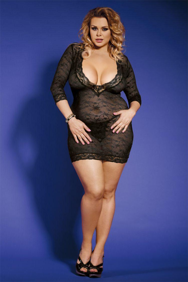 Plus Size Sexy Dessous Kleidchen Schwarz
