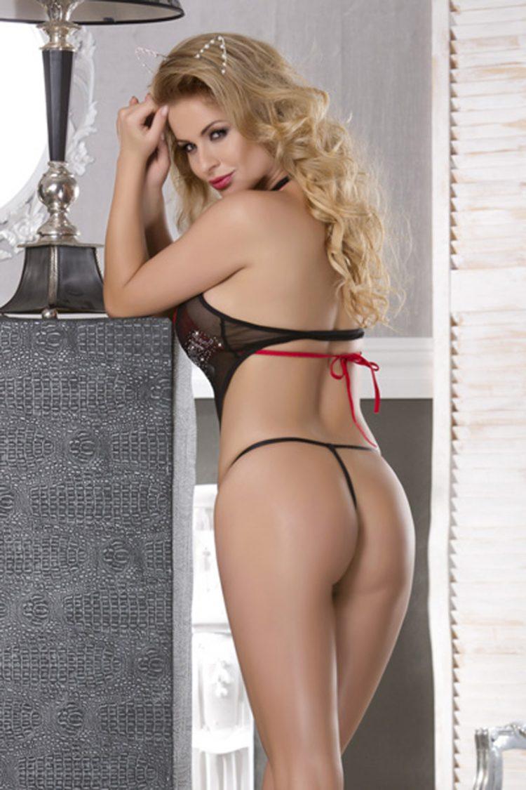 Sexy Schnüren 3tlg Teddy Babydoll Nachtwäsche Rot mit Schwarz