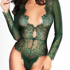 Eleganter Spitzenbody mit Tiefem V-Ausschnitt Smaragdgrün