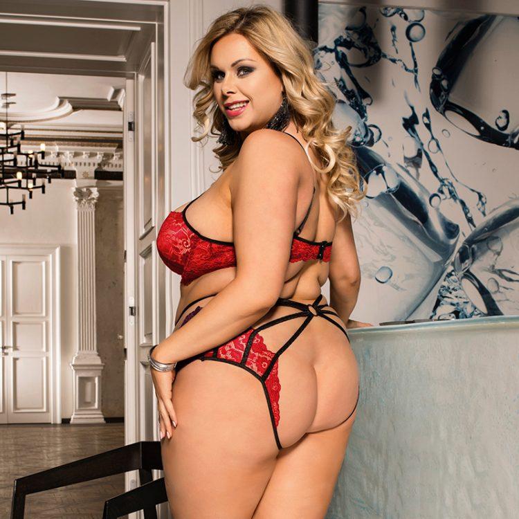 Spitzen Sexy Dessous Set mit Riemchen Rot 2 tlg