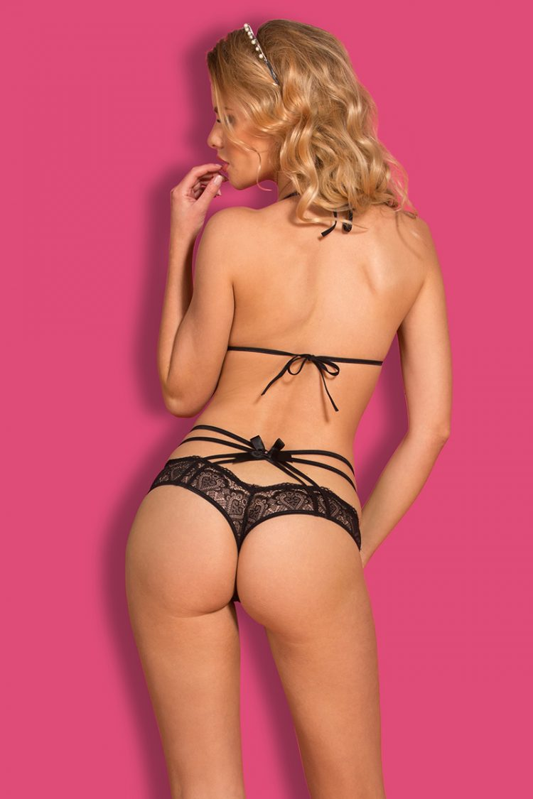 3-piece bra set with straps and bows with headpiece black