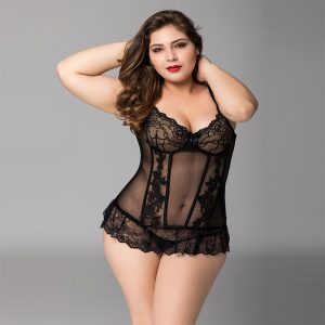 Sexy Plus Size lace corset set 2 pcs with flower pattern