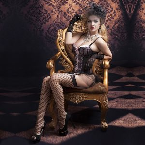 Seductive lace corset with sexy stockings and thong