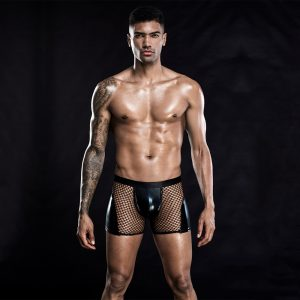 Herren Shorts in Netzoptik mit schwarzen Lack Details