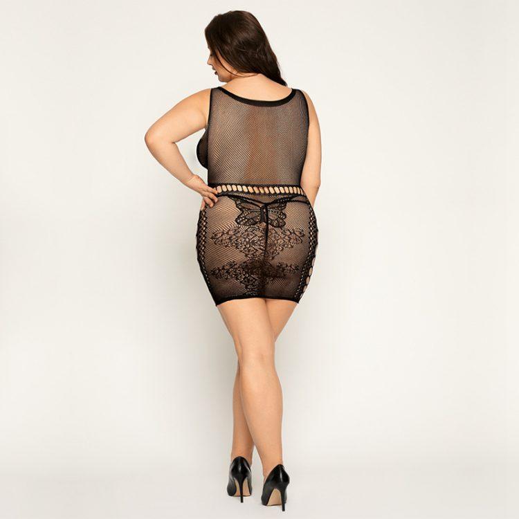 Heißes Kleid mit String für Plus Size Damen in schwarzer Netz Optik