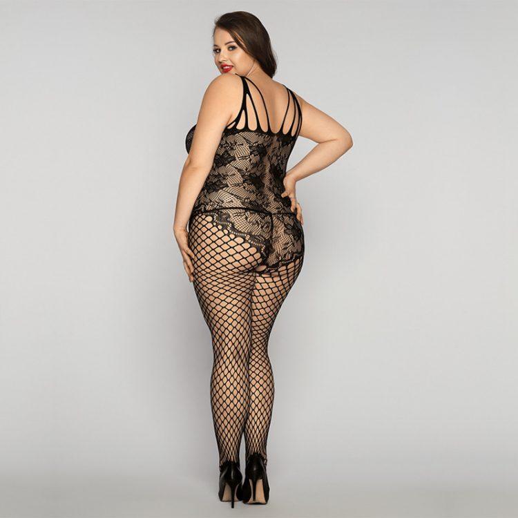 Heißer Plus Size Bodystocking in schwarzer Netz Optik