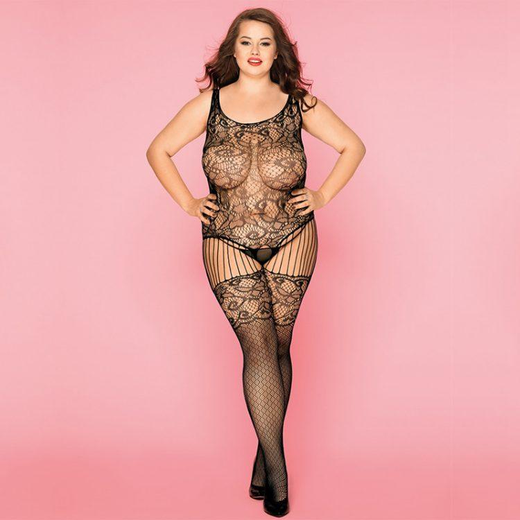 Plus Size Bodystocking in eleganter Netz Optik mit sexy Muster