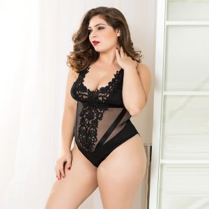 Black mesh-look teddy body with a floral pattern