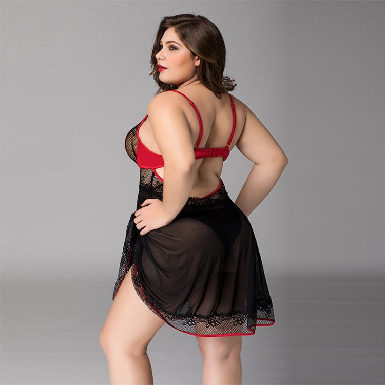 Sexy Plus Size Spitzen Babydoll mit Tanga