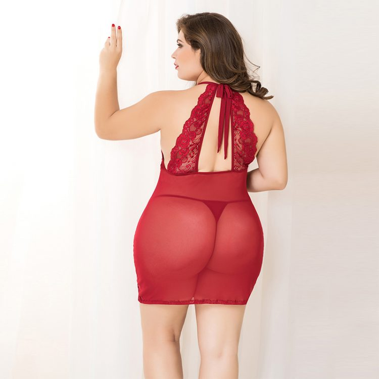 Sexy plus size lace dress with floral pattern in red with slip
