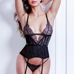 Sexy straps corset thong with garter