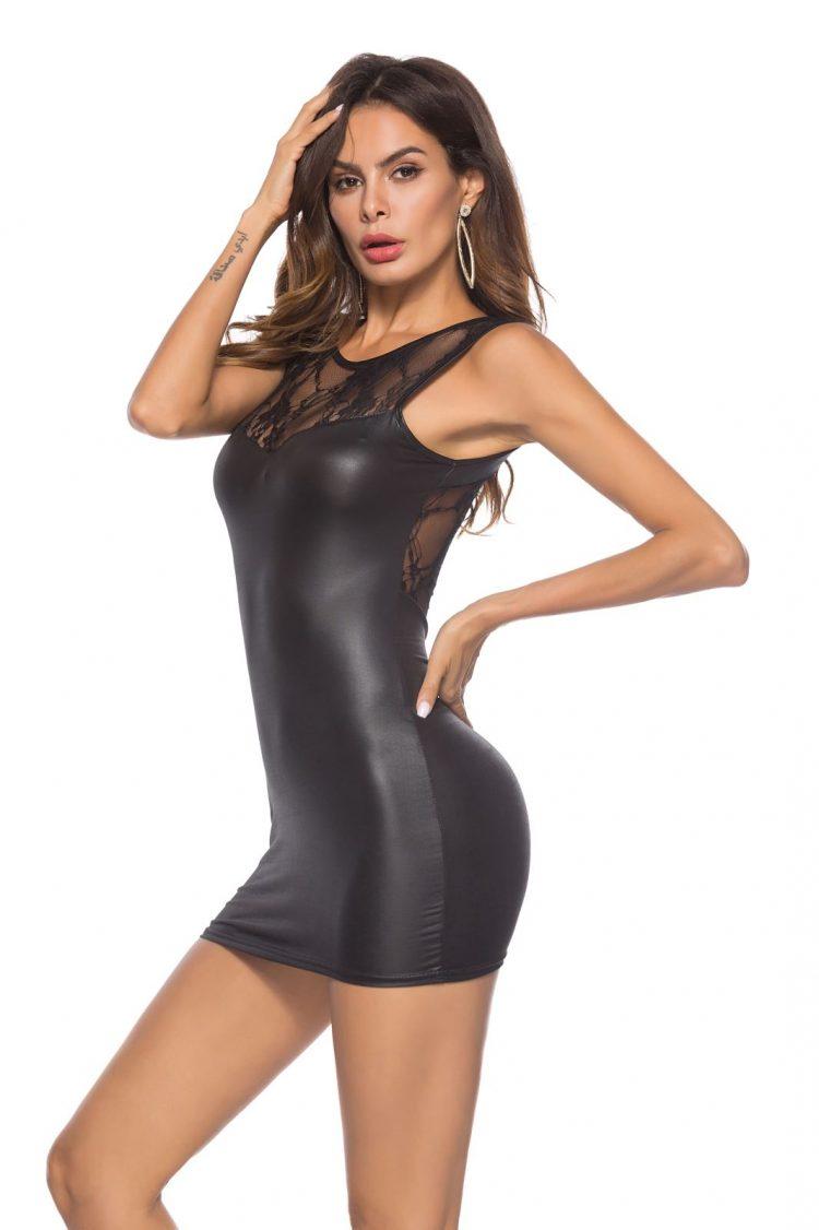 Elegantes Wetlook Mini-Kleid mit zarter Spitze Schwarz