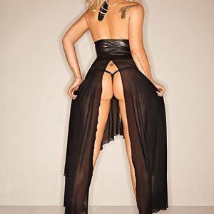 Langes Wetlook Kleid Clubwear Tüll Partykleid