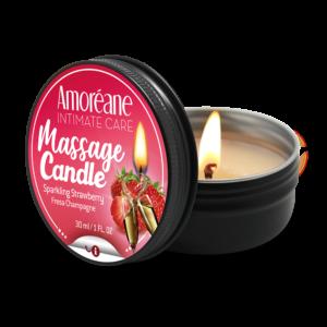 AMOREANE Massagekerze funkelnde Erdbeere