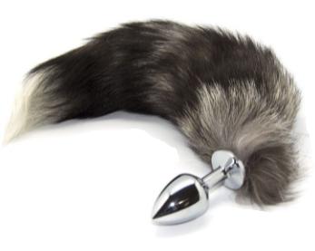 Metall Analplug mit kunst Fuchsschwanz schwarz weiß in Größe L