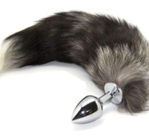 Metall Analplug mit kunst Fuchsschwanz schwarz weiß in Größe M